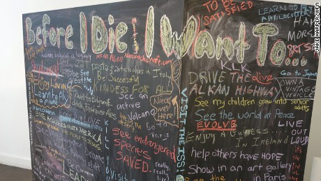 "A chalkboard ""bucket list"" got people talking at the Before I Die Festival."