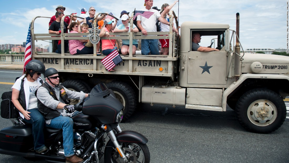 A military-style truck promoting Donald Trump passes over the Memorial Bridge in Washington during the annual Rolling Thunder biker rally on Sunday, May 29. The event is a tradition on Memorial Day weekend, paying tribute to prisoners of war and Americans missing in action.