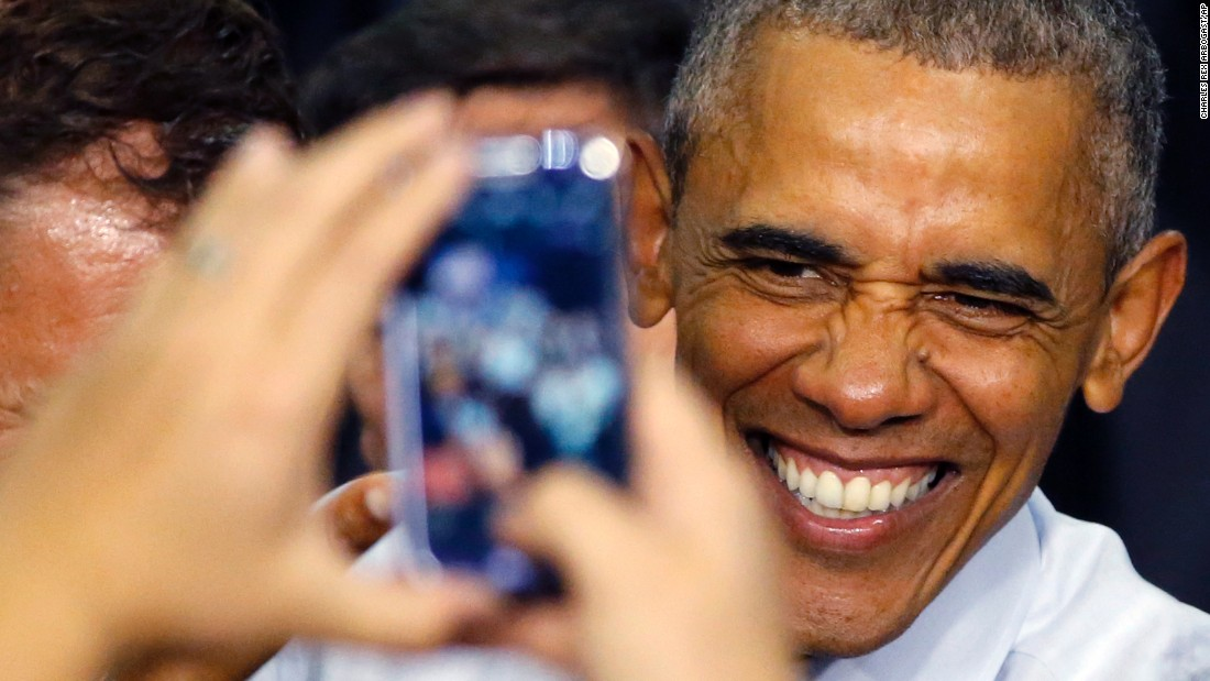 "U.S. President Barack Obama smiles for a photograph after <a href=""http://www.cnn.com/2016/06/01/politics/obama-presidential-election-2016/"" target=""_blank"">addressing a crowd</a> in Elkhart, Indiana, on Wednesday, June 1."