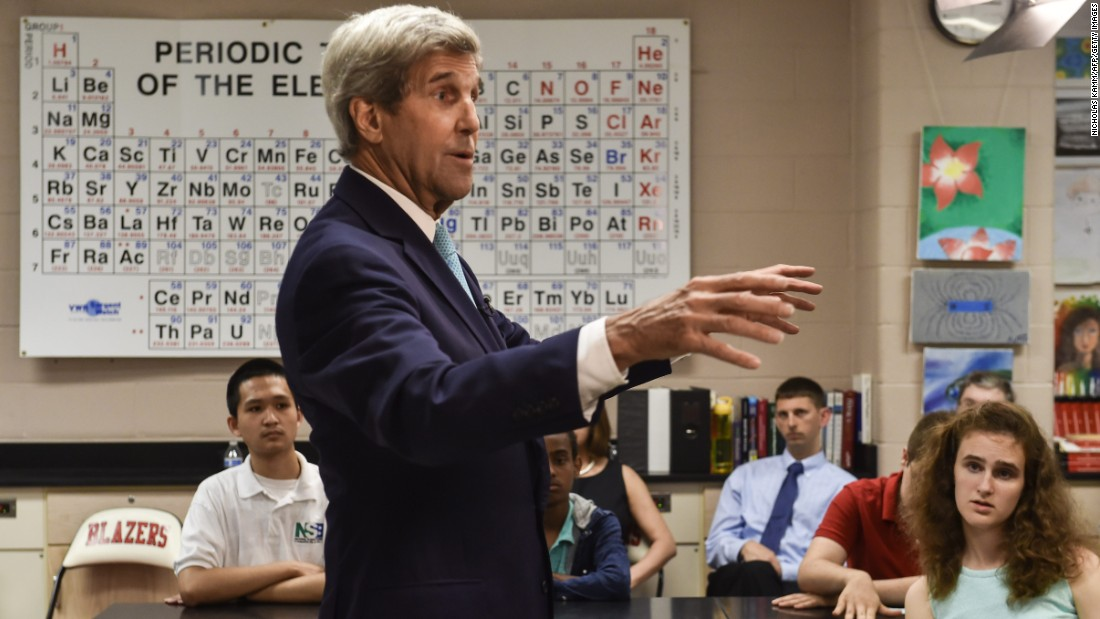 U.S. Secretary of State John Kerry speaks about ocean conservation to high school students in Silver Spring, Maryland, on Wednesday, June 1.