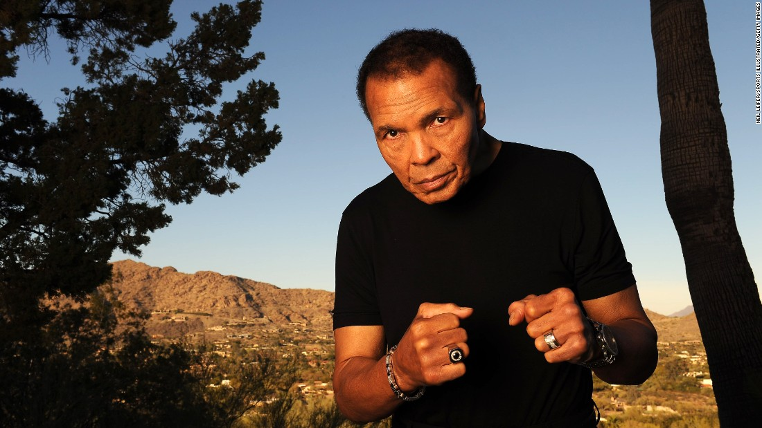 Ali poses during a photo shoot outside his home in Paradise Valley, Arizona, in January 2012.