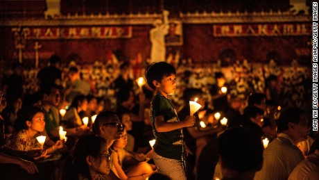 Hong Kongers commemorate the Tiananmen Square massacre of June 4, 1989.