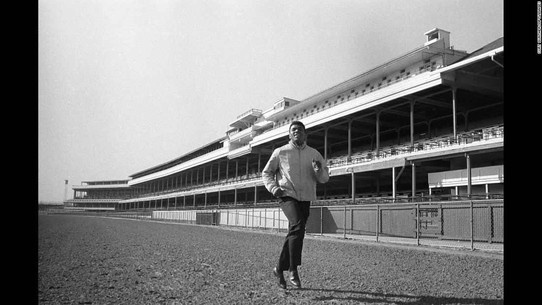 Ali does road work in 1963 at Louisville's famed Churchill Downs, home of the Kentucky Derby.