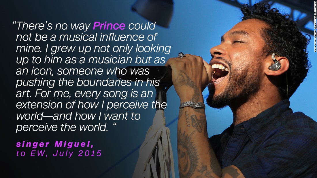 In 2015, singer Miguel said Prince was an inspiration to him.