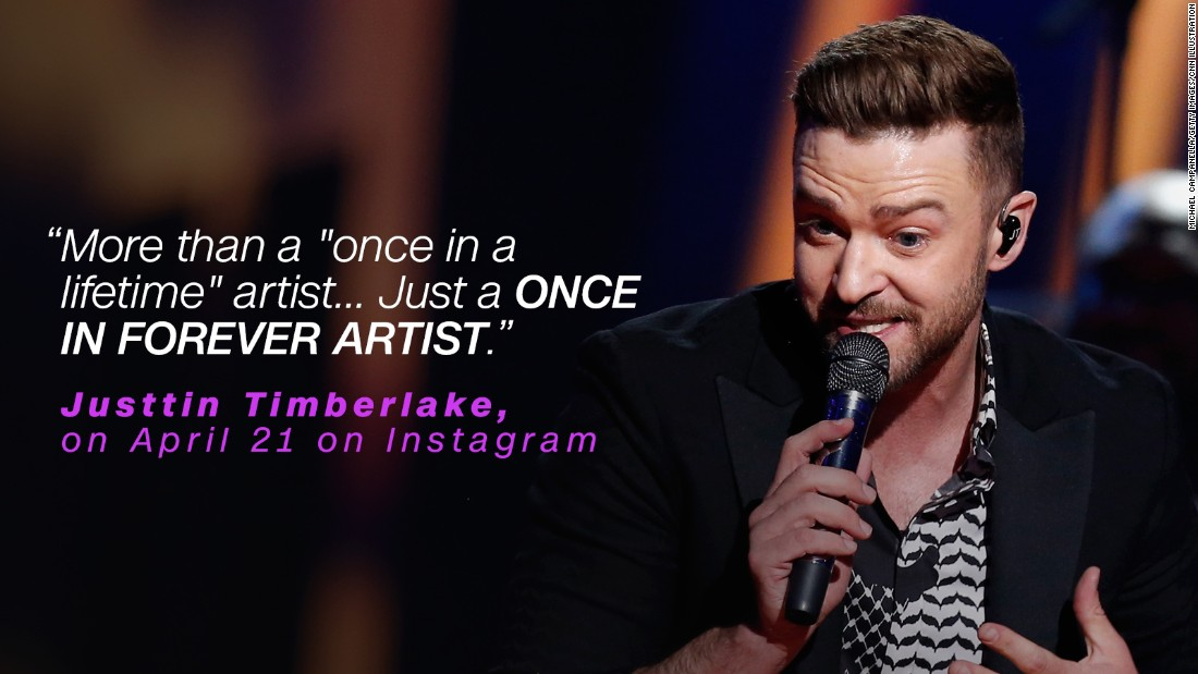 Justin Timberlake said he was a lifelong Prince fan and paid tribute to him on social media.