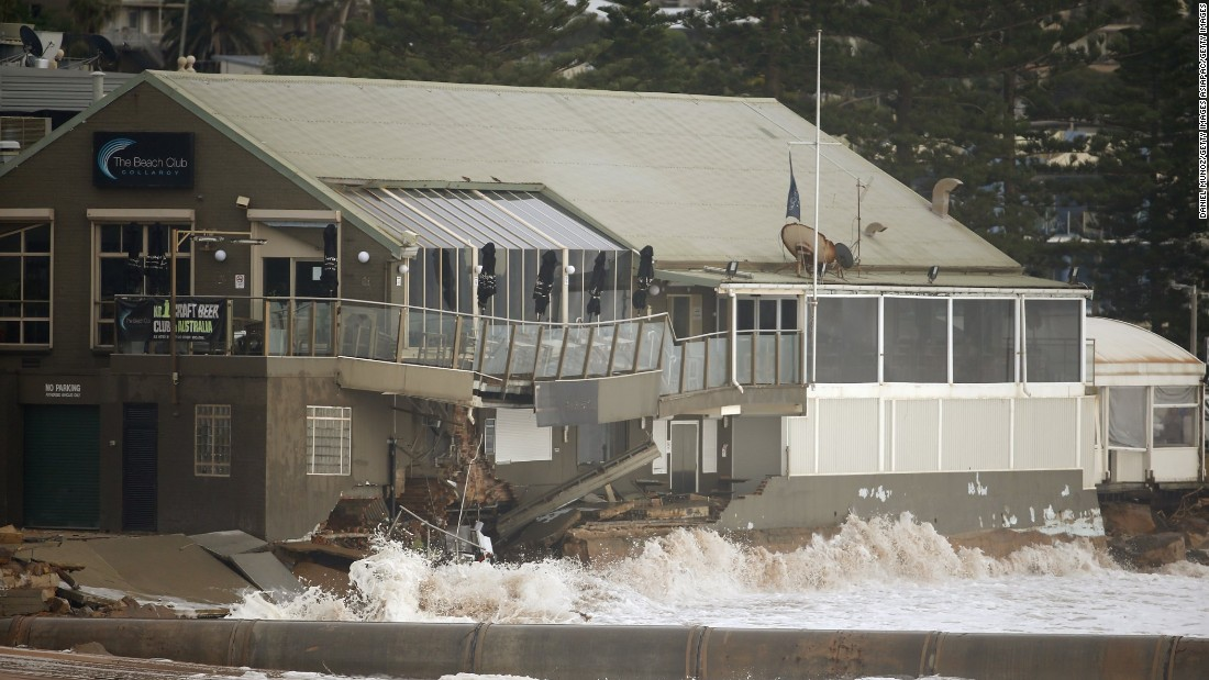 Collaroy Beacch Club was among the many buildings damaged by large waves.