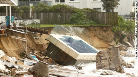A destroyed pool from a house on Sydney's Collaroy Beach.