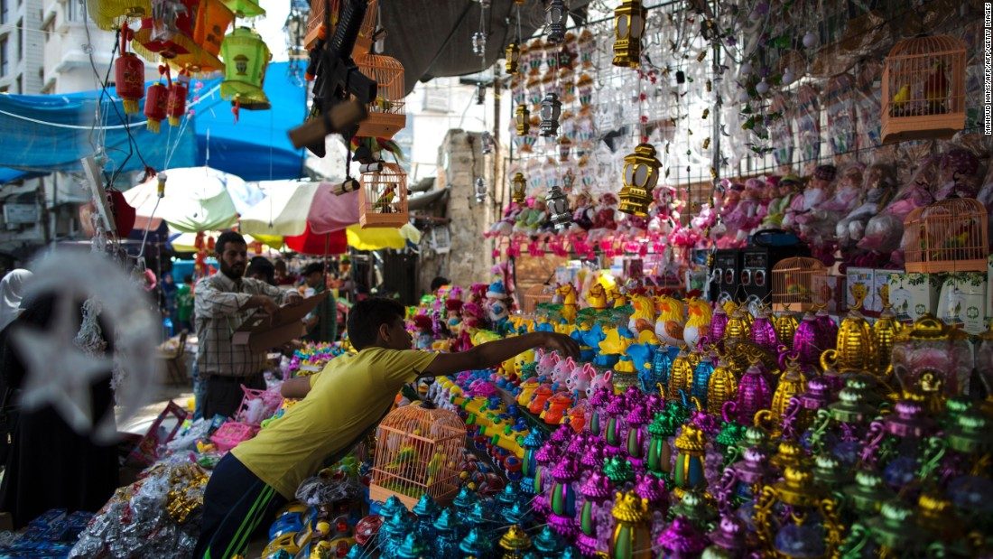 A vendor sells traditional lanterns in Gaza City on June 5.