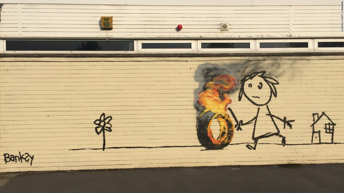 Stunning In June elusive UK street artist Banksy painted this mural for students at a primary