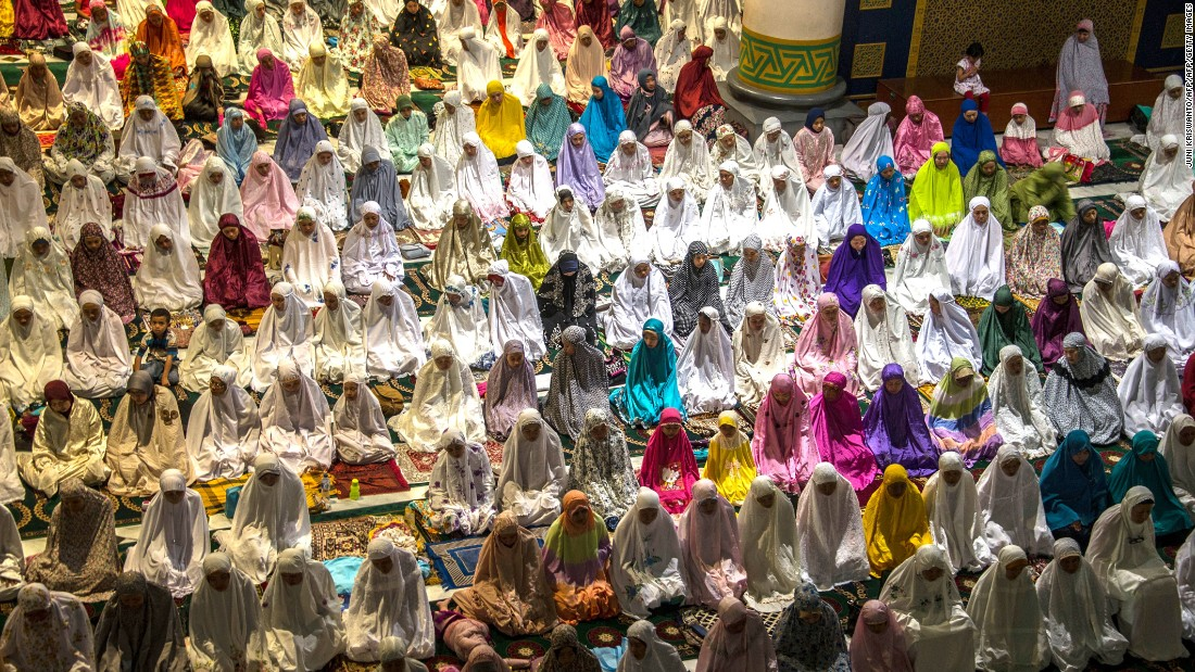 Muslims hold prayers at the al-Akbar mosque in Surabaya, Indonesia, to mark the start of Ramadan on June 5.
