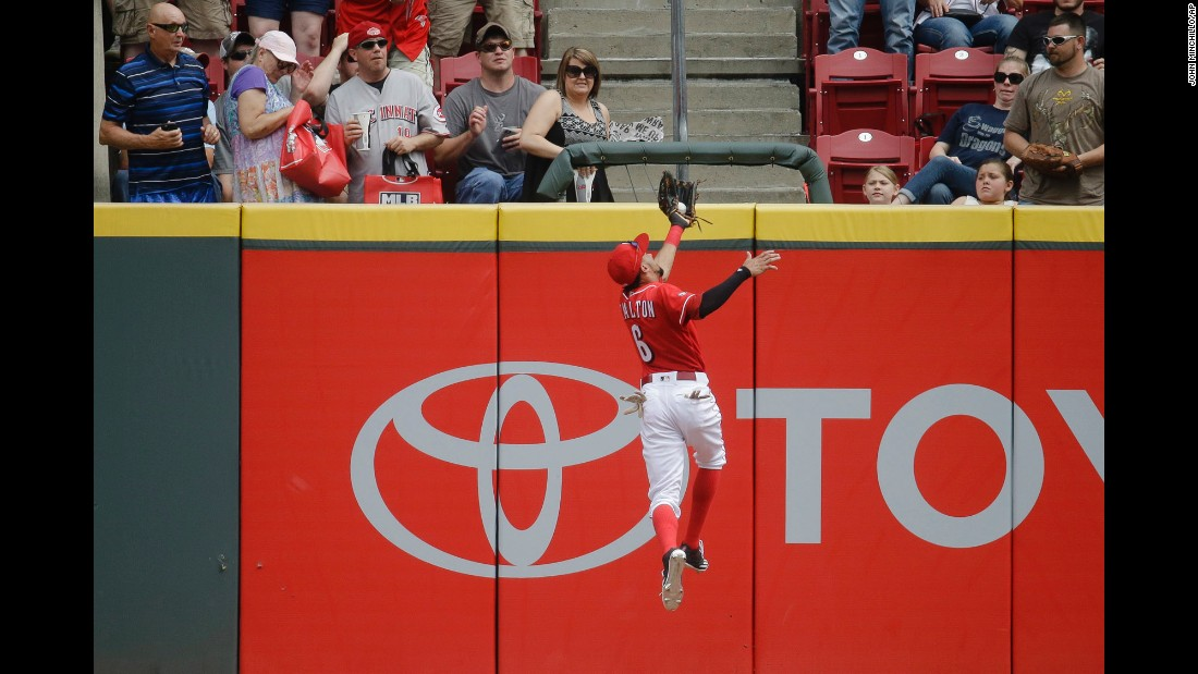 Cincinnati center fielder Billy Hamilton makes a leaping catch at the wall during a Major League Baseball game against Washington on Saturday, June 4.