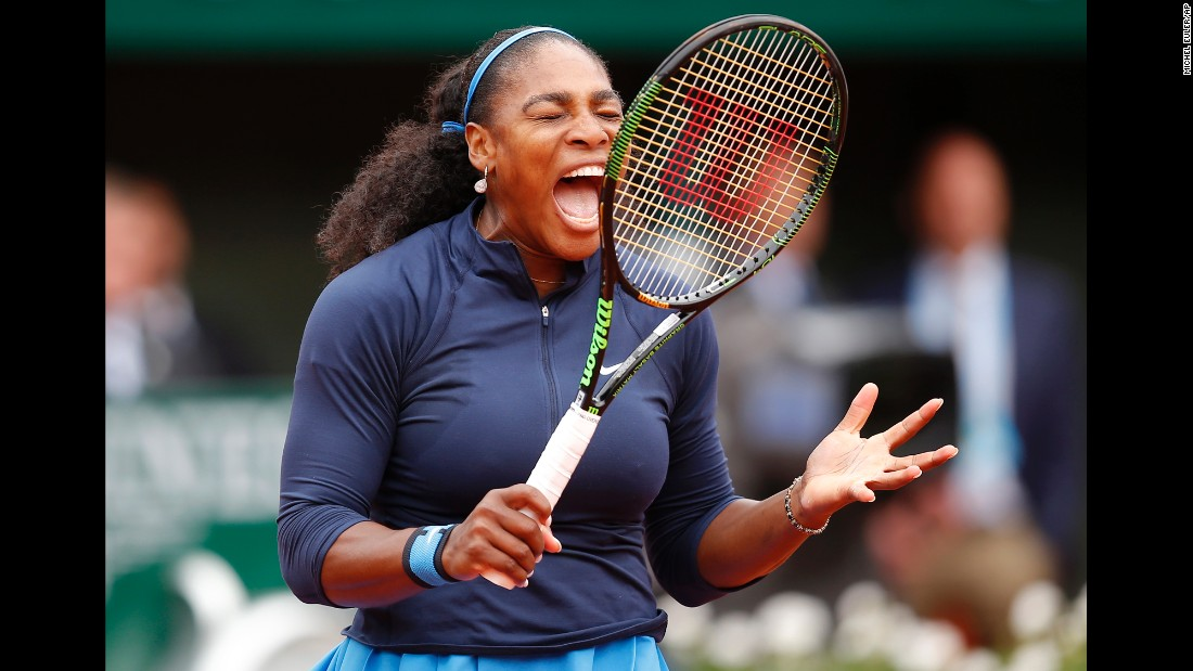 "Serena Williams shouts during the <a href=""http://www.cnn.com/2016/06/04/tennis/french-open-serena-williams-muguruza-tennis/index.html"" target=""_blank"">French Open final</a> on Saturday, June 4. She was hoping to tie Steffi Graf's record of 22 Open Era majors, but she came up short against Garbine Muguruza."