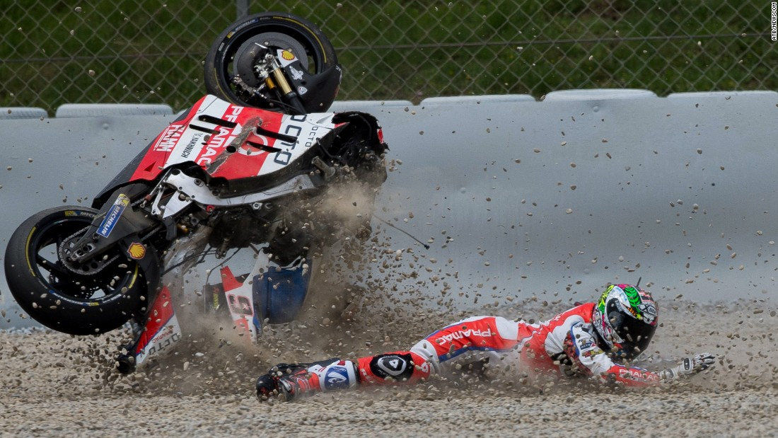 MotoGP rider Danilo Petrucci crashes Sunday, June 5, at the Catalunya Grand Prix in Barcelona, Spain. He finished the race in ninth.