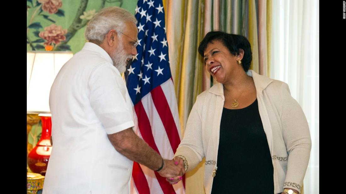 Modi shakes hands with U.S. Attorney General Loretta Lynch at the Blair House in Washington on June 6.