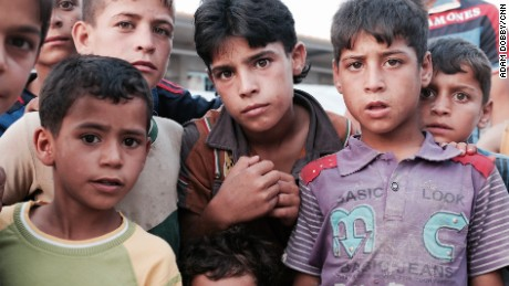 Boys who fled Falluja in the Ahal Camp near Baghdad, Iraq