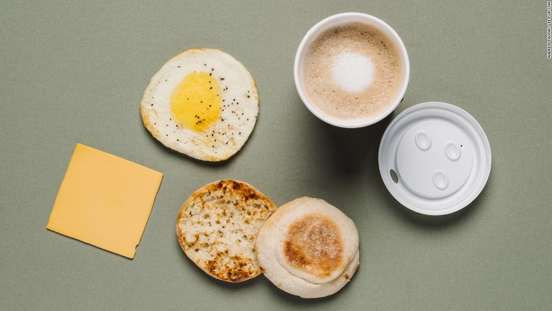 Dunkin' Donuts are free of animal fat, but a bigger complete protein boost is found with an egg and cheese English muffin and a latte with skim or almond milk.