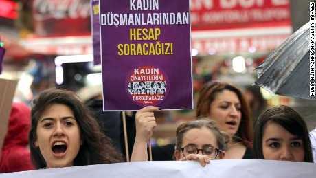 Women in Ankara protest  Erdogan's comments on womanhood this week.