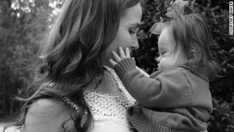Courtney Baker and her daughter Emersyn, now 15 months old