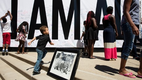 "An ""I Am Ali"" poster covered an entire wall at the Kentucky Center in downtown Louisville."