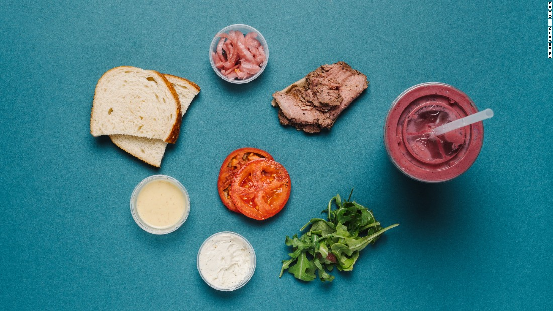 On your way to or from the gym? The steak and arugula sandwich (half) and a superfruit power smoothie is a healthy combination of performance-boosting nutrients including iron, protein and carbs.
