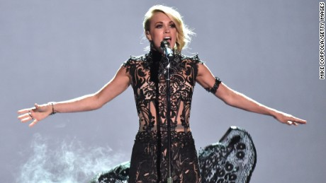 Carrie Underwood performs during the 2016 CMT Music awards at the Bridgestone Arena on June 8, 2016 in Nashville, Tennessee.
