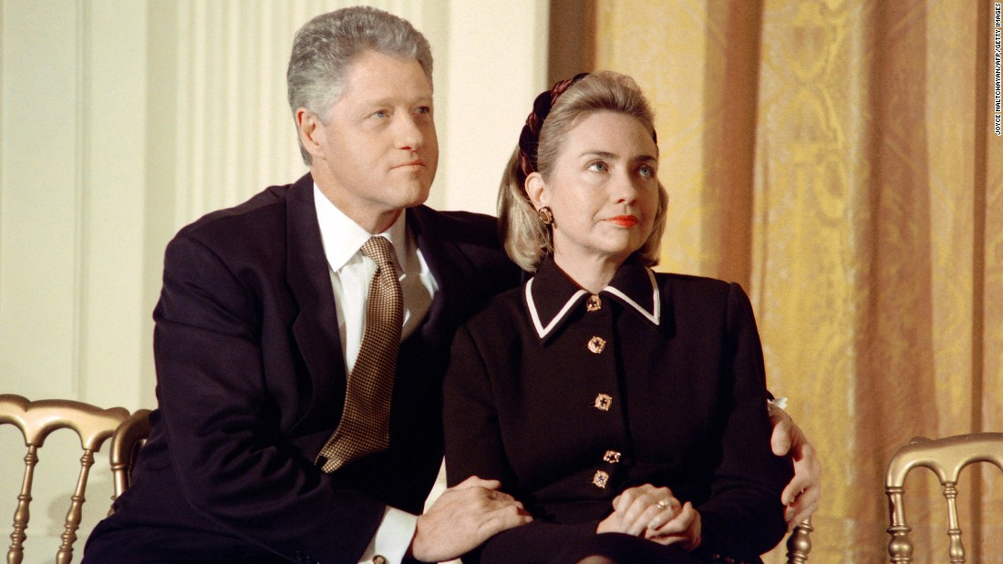 President Bill Clinton And His Wife Hillary Listen To Speakers At A  Coalition For Americau0026#