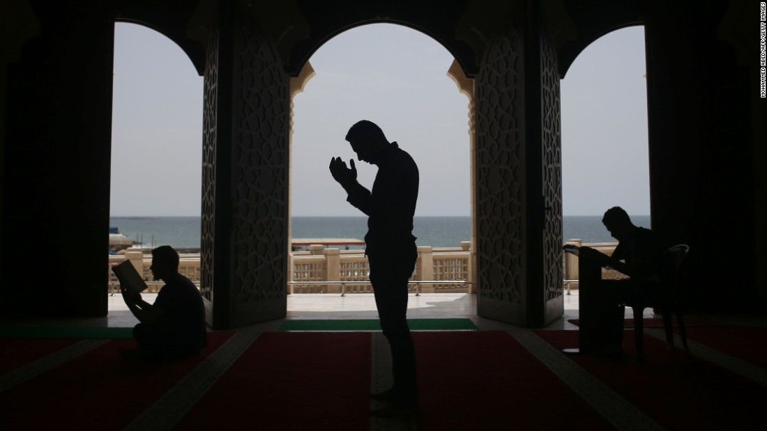 People pray at the al-Khaldi mosque in Gaza City on Wednesday, June 8.