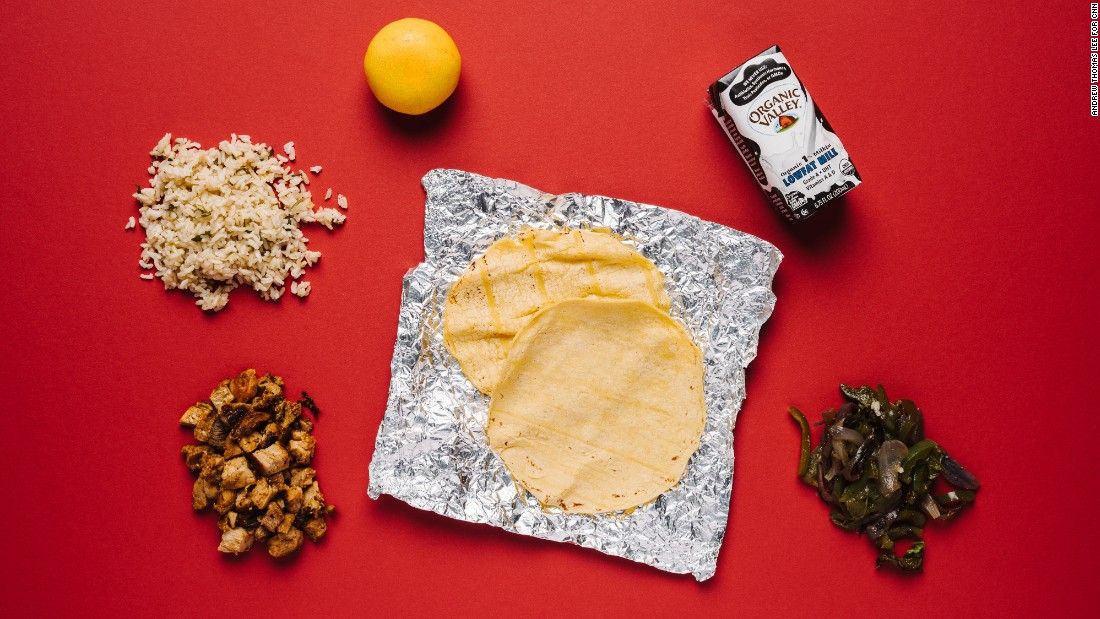 Chipotle has a healthy option that's easy to eat while driving, on the kids' menu: tacos with chicken, brown rice and fajita vegetables, a Mandarin orange and organic milk.