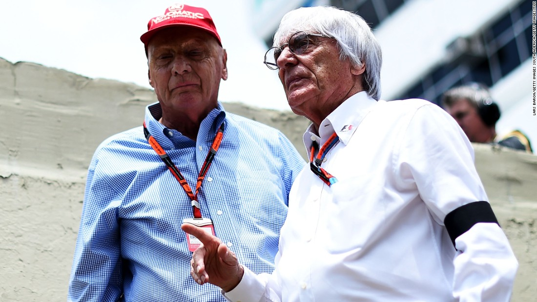 Ecclestone speaking with Mercedes GP non-executive chairman Niki Lauda on the grid before the Brazilian Grand Prix in November 2015. Ecclestone has been in charge of F1 long enough to know Lauda when he was racing.