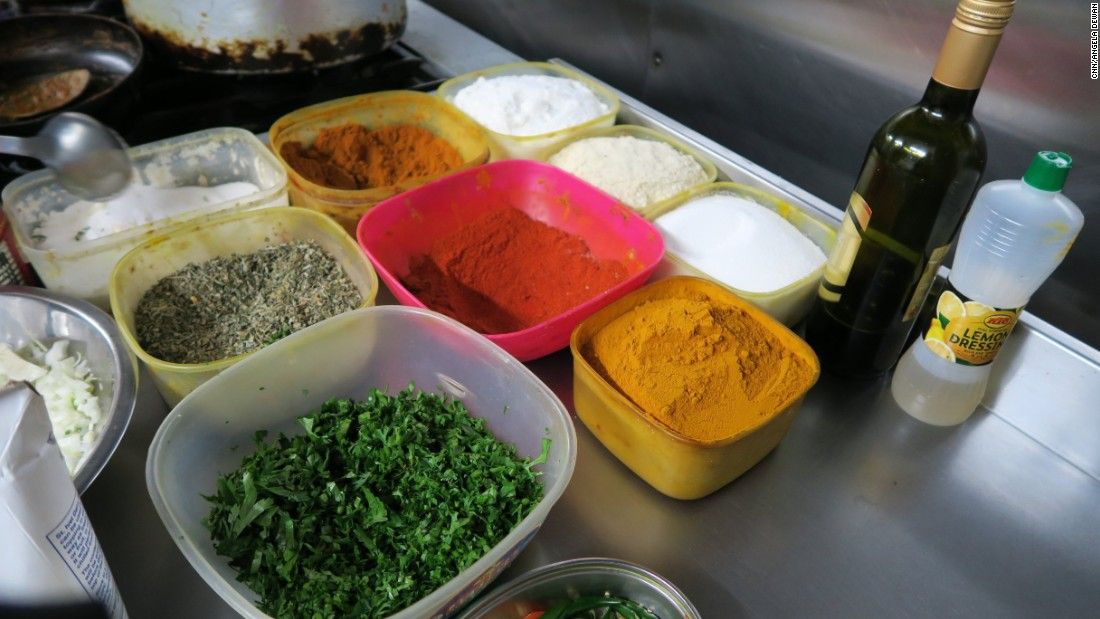 Spices in the kitchen of Bengal Cuisine on Brick Lane, famous for its curry houses