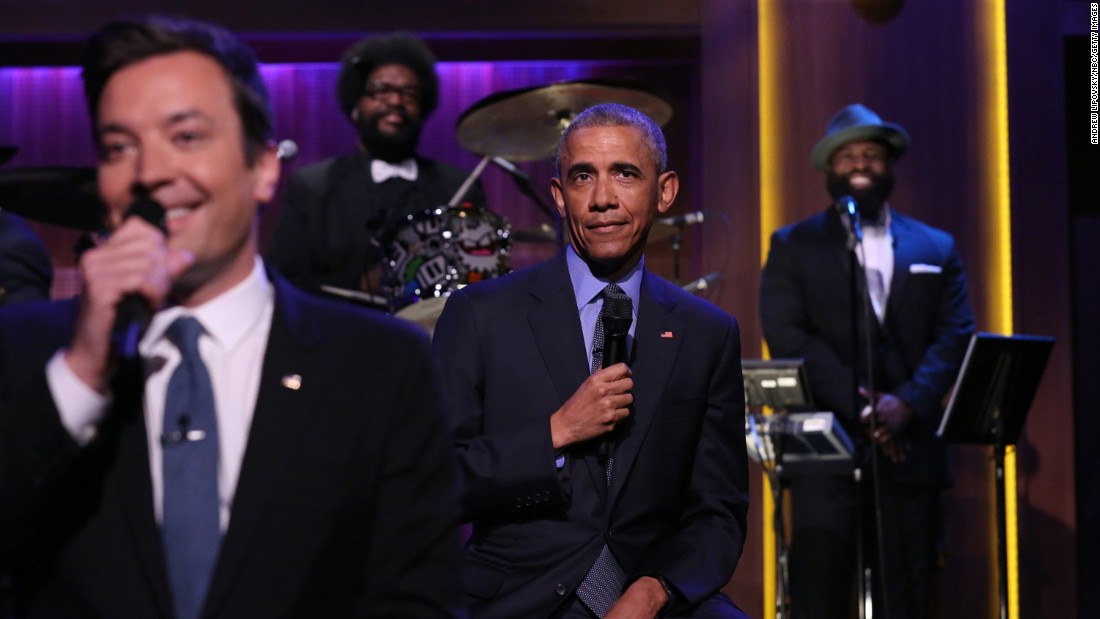 "U.S. President Barack Obama helps ""Tonight Show"" host Jimmy Fallon ""slow jam the news"" during the late-night show on Thursday, June 9."