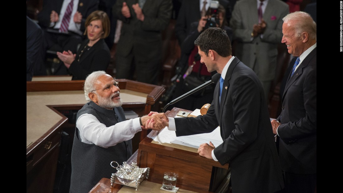 "Indian Prime Minister Narendra Modi greets House Speaker Paul Ryan and Vice President Joe Biden before addressing a joint meeting of the U.S. Congress on Wednesday, June 8. ""The traits of freedom and liberty form a strong bond between our two democracies,"" said Modi, who was <a href=""http://www.cnn.com/2016/06/07/world/gallery/modi-us-visit/index.html"" target=""_blank"">in the Washington area for a three-day visit.</a>"
