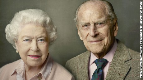 A new official photograph released by Buckingham Palace to mark The Queen's 90th birthday, shows Queen Elizabeth II with her husband, The Duke of Edinburgh, and was taken at Windsor Castle just after Easter. Editorial use only. This image may be used free of charge, internationally, for 14 days from release, until Friday June 24, 2016.