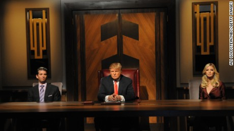 Donald Trump Jr., Donald Trump, Ivanka Trump on the live finale of 2008 season of The Apprentice.