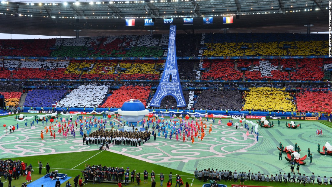 An elaborate opening ceremony took place in the stadium before the match.