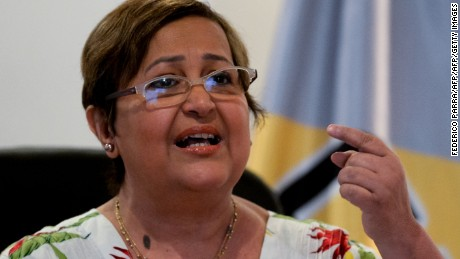 The president of the Venezuelan National Electoral Council (CNE), Tibisay Lucena, speaks during a press conference in Caracas on June 10, 2016. Venezuelan authorities set a timeline Friday for the next stage in the opposition's push to call a referendum to sack President Nicolas Maduro, but warned they would halt the process if violence erupts. / AFP / FEDERICO PARRA        (Photo credit should read FEDERICO PARRA/AFP/Getty Images)