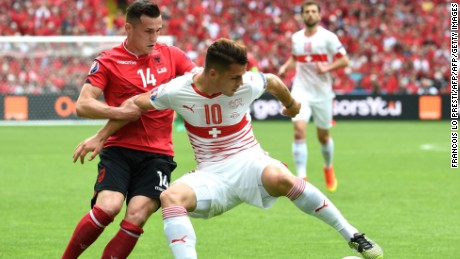 Switzerland's Granit Xhaka faced his brother Taulant -- who represents Albania -- at the Euro 2016 finals.