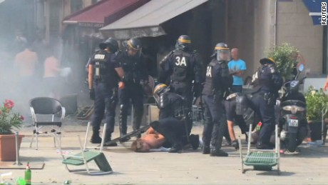 Violence broke out in the French city of Marseille during Euro 2016.