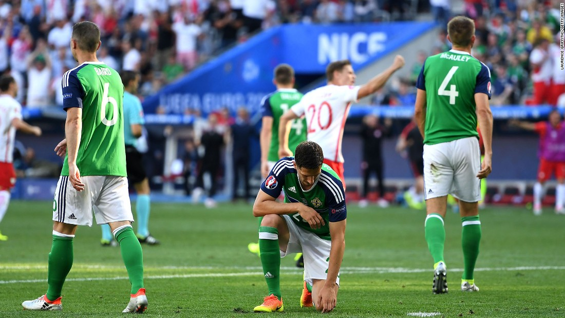 Craig Cathcart appears dejected after Milik's goal, which came in the 51st minute.