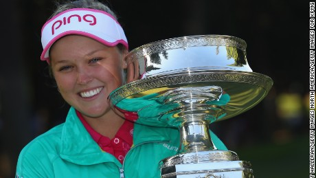 Henderson celebrates after winning the Women's PGA Championship at the Sahalee Country Club.