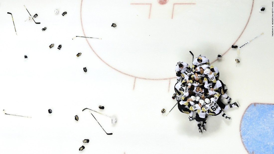 The Pittsburgh Penguins celebrate Sunday, June 12, after winning the Stanley Cup Final in San Jose, California. The Penguins defeated San Jose in six games for the fourth title in franchise history.