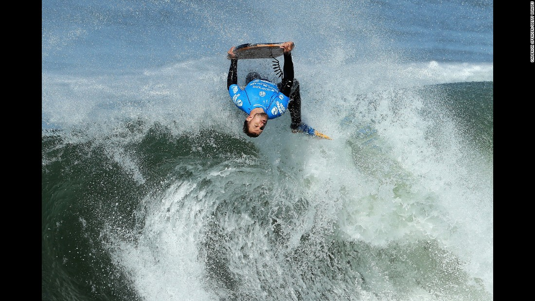 Pro bodyboarder Jase Finlay competes at the Shark Island Challenge in Sydney on Wednesday, June 8.
