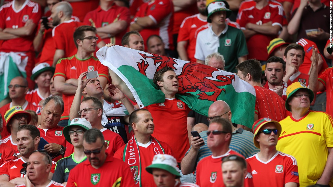 Wales fans watch their tournament opener against Slovakia on Saturday.