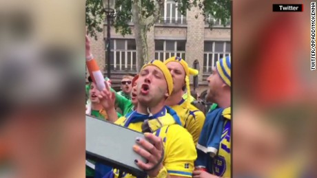IRELAND AND SWEDEN FANS SING ABBA'S DANCING QUEEN OUTSIDE EURO 2016 MATCH