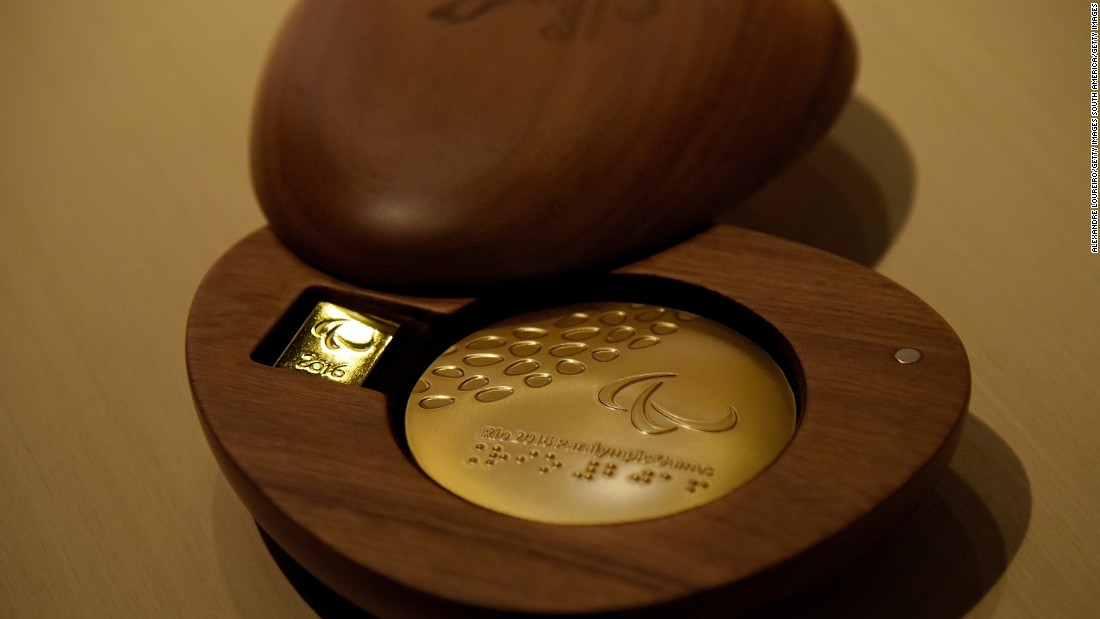 The Paralympic medals were also revealed and have a tiny device inside which makes a noise when it is shaken, allowing visually impaired athletes to know if they are gold, silver or bronze -- gold has the loudest noise, with bronze the quietest.