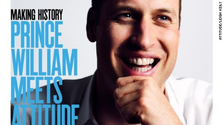 Prince William appears on the cover of Attitude, marking the first time a British royal has been photographed for a gay publication.