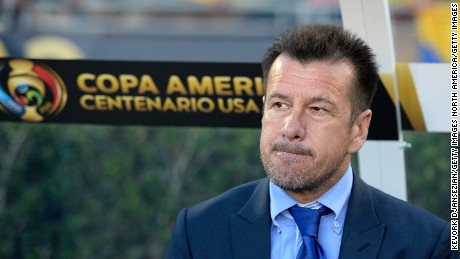Dunga, former manager of Brazil, seen in the dugout during the 2016 Copa America Centenario Group B match between Brazil and Ecuador in Pasadena, California.