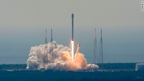SpaceX launched two satellites into Earth's orbit Wednesday. This photo is from a rocket launch in April 2016.