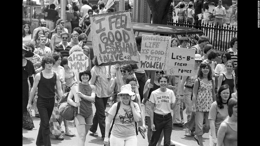 People march in the Boston gay pride parade.