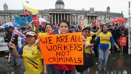 Immigrant workers at a 2007 protest in London against exploitation and discrimination.